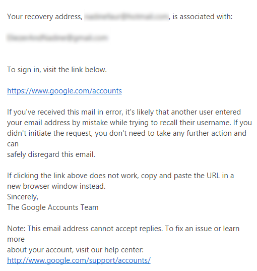 forgot google play username or password \u2013 help centerif you enter a recovery email, you should receive the following email from google with your username click the link to sign in